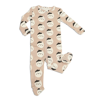 Organic Cotton Zip-up Footed Sleeper (French Cat)