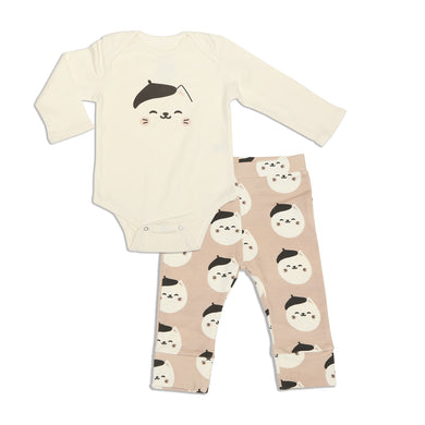 Organic Cotton Bodysuit & Pant Set (French Cat)