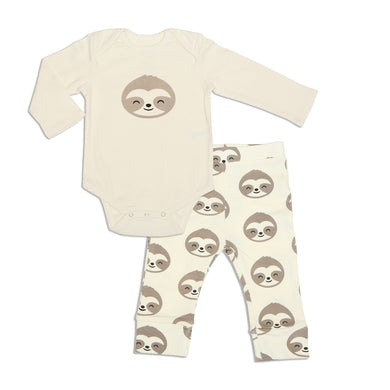Organic Cotton Bodysuit & Pant Set (Happy Sloth Print)