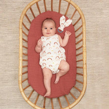 Load image into Gallery viewer, Organic Cotton COPACABANA - Baby Teething Ring Peach Rainbow