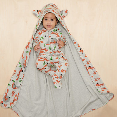 Organic Cotton Shawl with Hood- Fox