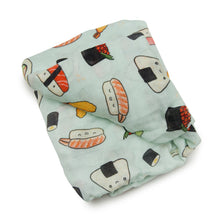Load image into Gallery viewer, Fitted Muslin Crib Sheet - Sushi