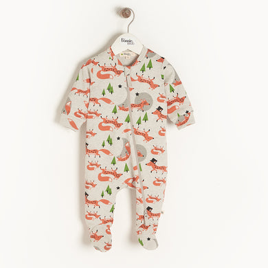 Organic Cotton Cypress Zip Front Footie- Fox