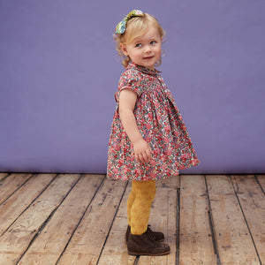 Emma- Hand Smocked Button Front Baby Dress