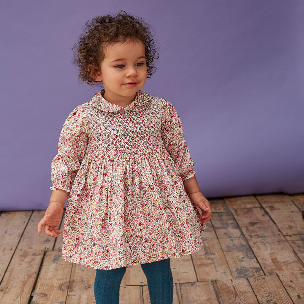Evelyn Hand Smocked Floral Dress