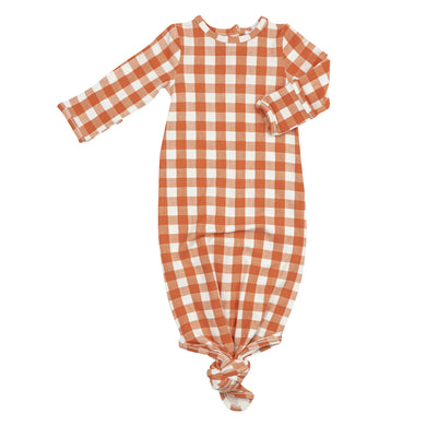 Gingham Pumpkin Newborn Knotted Gown (Newborn-3 Months)