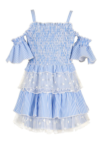 Smocked Top Dress with Ruffled Tiered Skirt