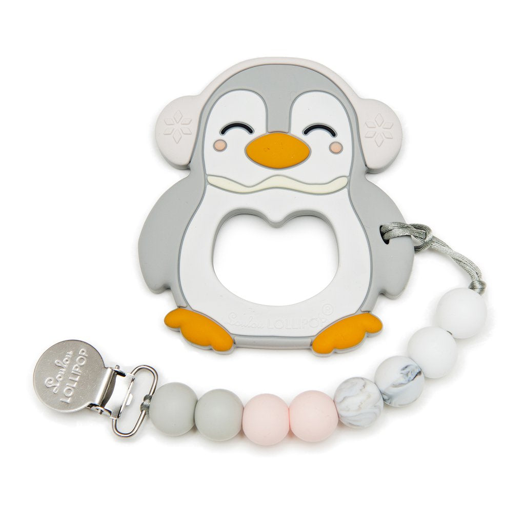 Gray Penguin Silicone Teether w/ Clip