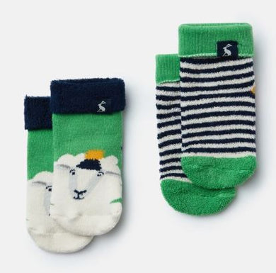 Green Sheep Terry Towel Socks (2 Pack)