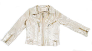 Hannah Banana- Metallic Gold Faux Leather Biker Jacket- Toddler Girl