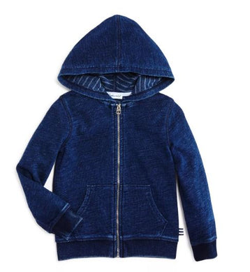 French Terry Lined Double Knit Hoodie- Indigo