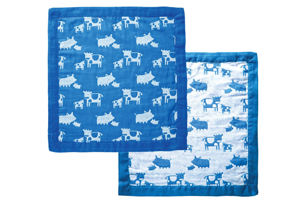 Jacquard Burp Cloth- Blue Farm