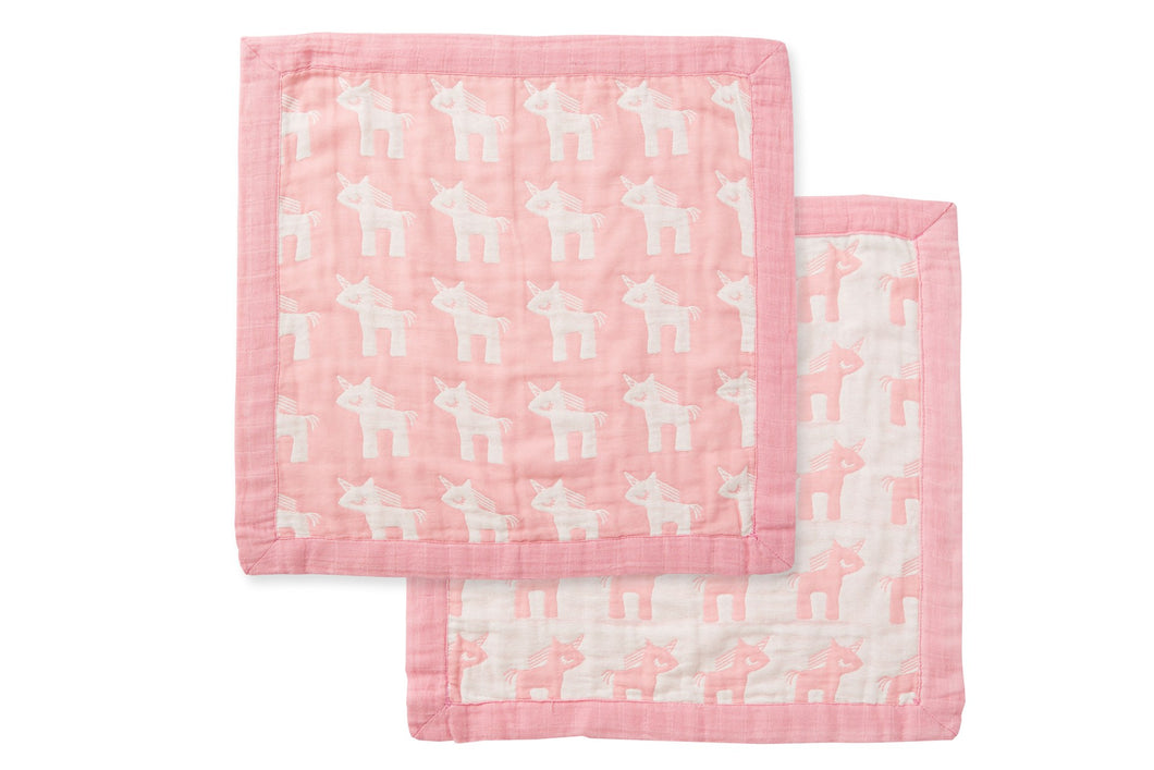Jacquard Burp Cloth- Pink Unicorn