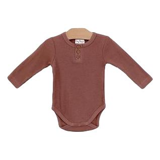 Organic Cotton Waffle Body Suit- Rosewood