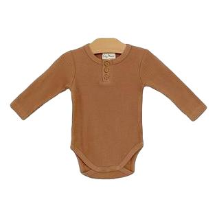 Organic Cotton Waffle Body Suit- Hazelnut