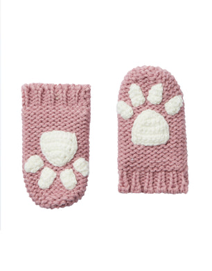 Paws Paw Print  Baby Mittens- Cherry Blossom (6-24 Months)