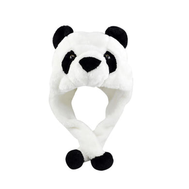 Panda Furry Animal Head Knit Beanie Hat