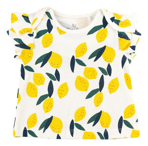 Lemon Print Flutter-Sleeve Tee (Organic Cotton)