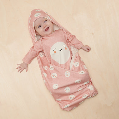 Organic Cotton Scout Shawl with Hood- Pink