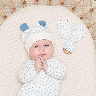 Organic Cotton BOBTAIL GIFT SET - Baby Sleepsuit + Teether Set BLUE