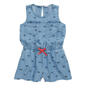 Bee Print-Chambray Romper