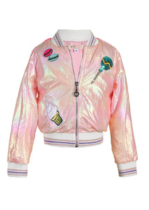 Bomber Jacket- Iridescent with Patch Trim