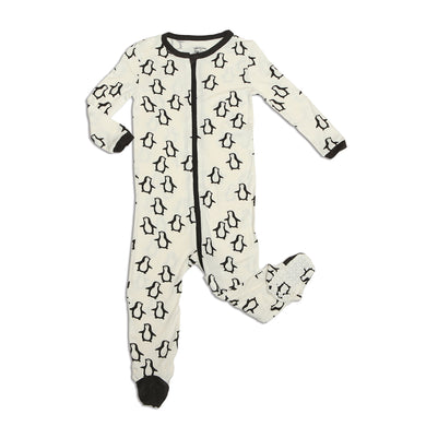 Bamboo Zip-up Footed Sleeper (Penguin Waddle Print)