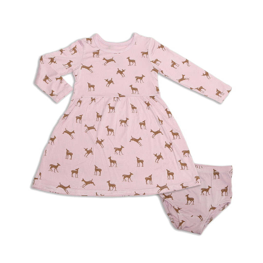 Autumn Deer Dress w/ Bloomer (Bamboo)