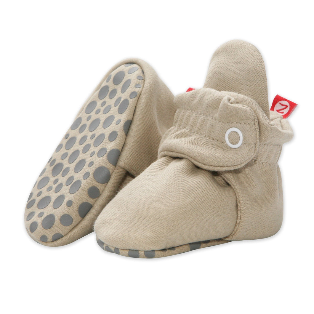 Zutano Baby Bootie- Fleece with Gripper (Khaki)