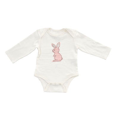 Organic Cotton Long Sleeve Onesie (Snow w/Blush Dot Bunny)