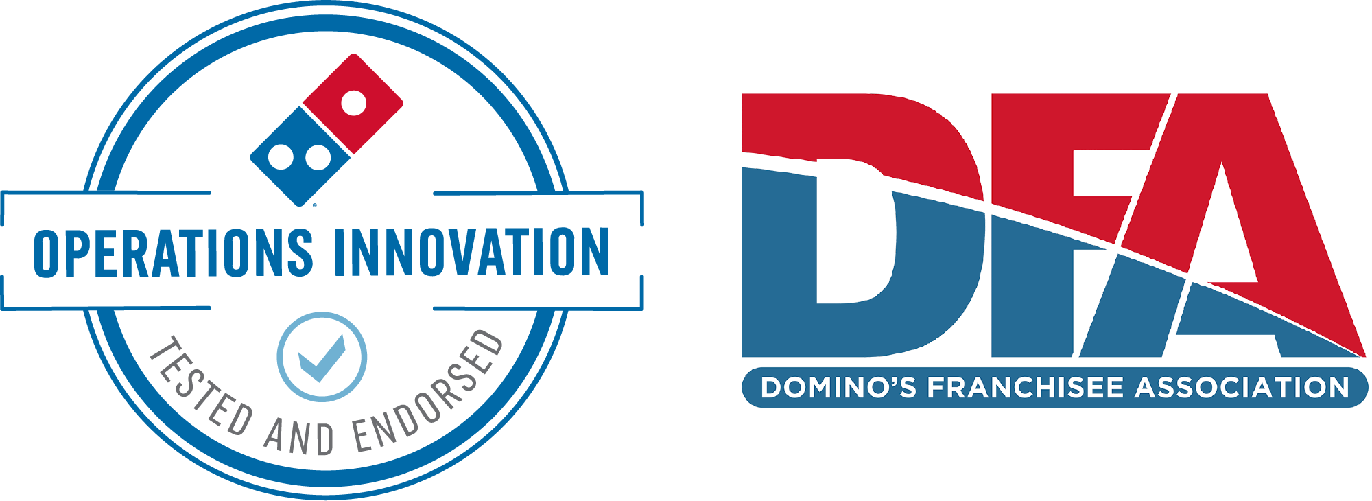 Operations Innovation Tested and Endorsed badge, Domino's Franchisee Association logo