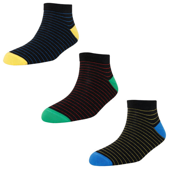 Men's AL01 Pack of 3 Cotton Stripes Ankle Socks