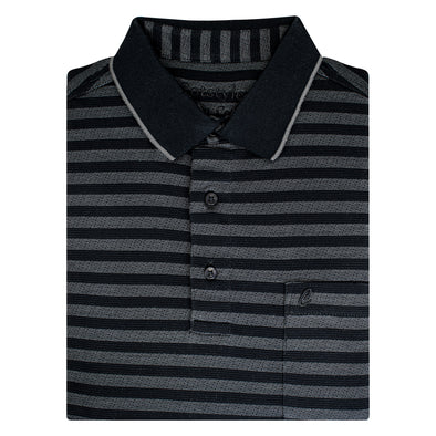 Men's Double Mercerised Ultra comfort Egyptian Cotton Half Sleeves Jacquard design Stripe Polo Shirt