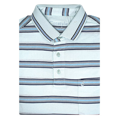 Men's Double Mercerised Ultra comfort Egyptian Cotton Half Sleeves Jacquard design 9 Stripe Polo Shirt