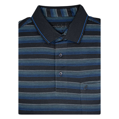 Men's Double Mercerised Ultra comfort Egyptian Cotton Half Sleeves Jacquard design 10 Stripe Polo Shirt
