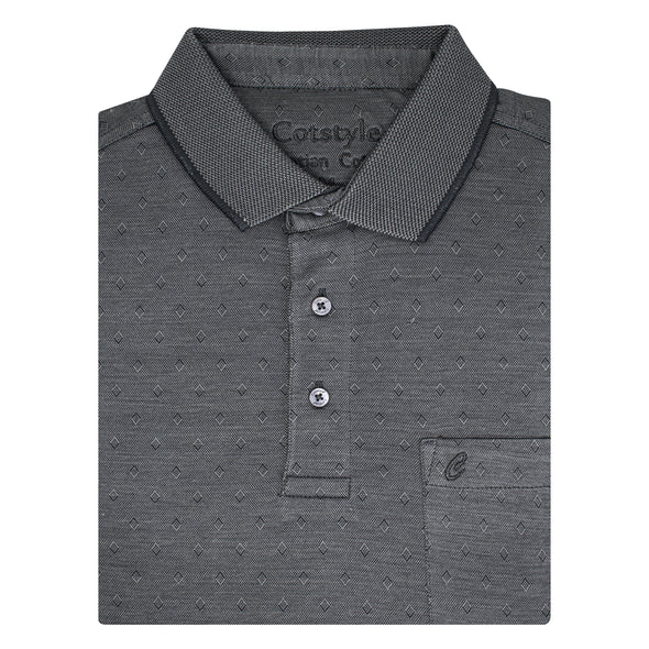 Men's Double Mercerised Ultra comfort Egyptian Cotton Half Sleeves Jacquard design Diamond Polo Shirt