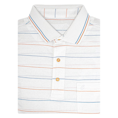 Men's Double Mercerised Ultra comfort Egyptian Cotton Half Sleeves Jacquard design Coloured Stripe Polo Shirt