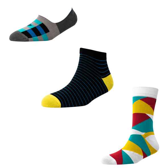 Men's MX04 Pack of 3 Assorted Socks