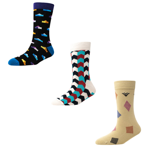 Men's FL018 Pack of 3 Crew Socks