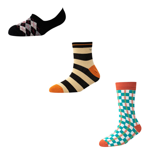 Men's MX03 Pack of 3 Assorted Socks