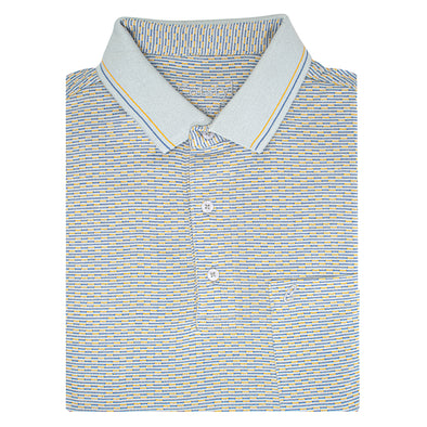 Men's Double Mercerised Ultra comfort Egyptian Cotton Half Sleeves Jacquard design Wave Stripe Polo Shirt