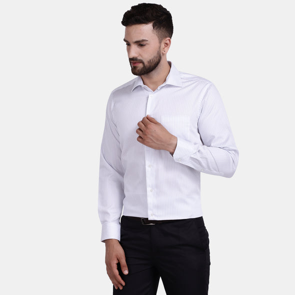 Men's PIMA Mercerised Striper Design Slim Fit Dress Shirt