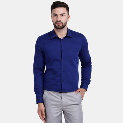 Men's PIMA Mercerised Bitone Check Textured Slim Fit Shirt