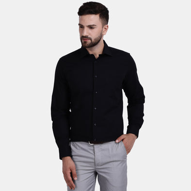 Men's PIMA Mercerised Self Check Textured Jacquard Weave Design Regular Fit Dress Shirt