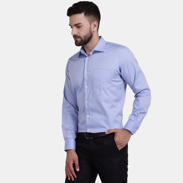 Men's PIMA Mercerised Jacquard Weave Check Regular Fit Dress Shirt