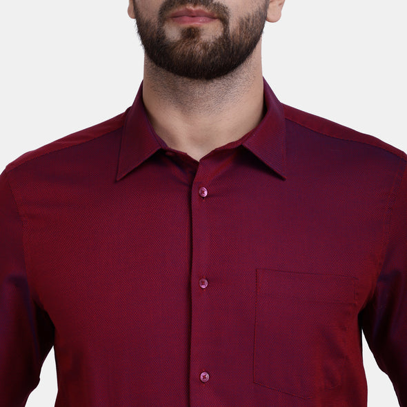 Men's PIMA Mercerised Bitone Textured Regular Fit Shirt