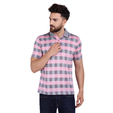 Men's Double Mercercerised PIMA Cotton Half Sleeves Bitone Check Polo Shirt