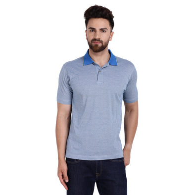Men's Double Mercercerised PIMA Cotton Half Sleeves Subtle Bitone Stripe Polo Shirt