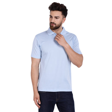 Men's Double Mercercerised PIMA Cotton Half Sleeves Solid Dyed Polo Shirt