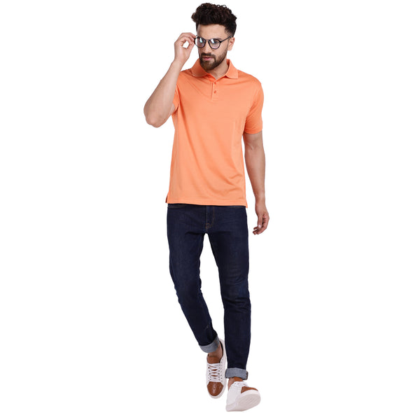 Men's Double Mercerised PIMA Cotton Half Sleeves Solid Dyed Polo Shirt